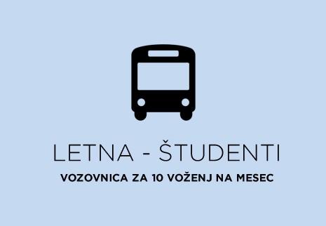 Letna - Študenti - 10 voženj na mesec